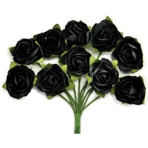Kaisercraft: Black - Mini Paper Blooms .5inch, 10 pk
