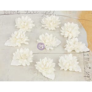 Prima: White - Lil Missy Mulberry Paper Flowers