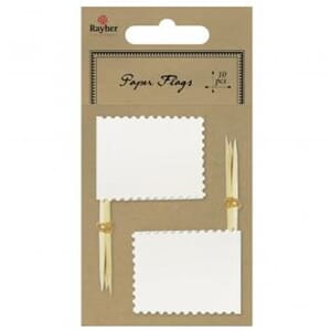 Rahyer: White - Flag picker with deco border 10/Pkg