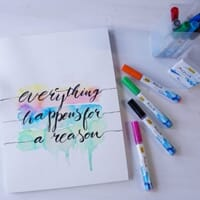 Brush lettering med Aqua Paint Marker