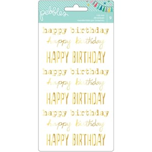 Peppels: Happy Birthday - Gold Rub ons ca 20x11 cm