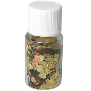 Mini paljetter - Hologramme gold hearts, bottle 10 ml