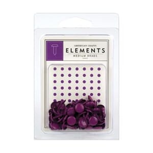 Am.Crafts: Elements Brads - Medium, Grape 48stk