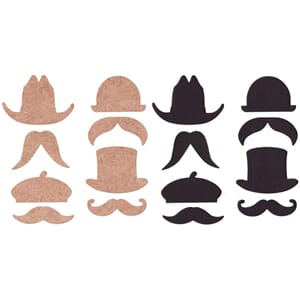 Basically Bare:  Hats & Staches - Embellies Blank Emb. 8/Pk