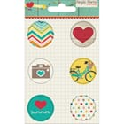 Simple Stories: I Heart Summer Flair Badges 6/Pkg