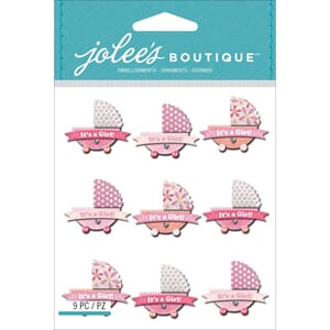 Jolees: Baby Girl Stroller - Dimensional Stickers