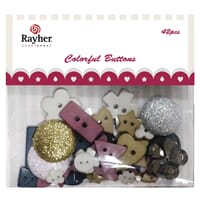 Rayher: Knapper - Mix form, 42 stk Colorful Buttons