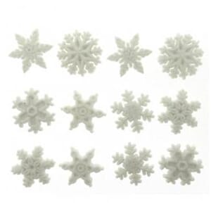 Rayher: Glittering snwo-flakes buttons 12/Pkg