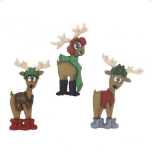 Rayher: Reindeers buttons 3/Pkg
