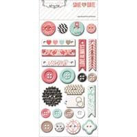 Teresa Collins: Save The Date Decorative Buttons & Chipboard