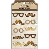 BoBunny: Mustaches - Kraft Laser-Cut Wood Embellishments