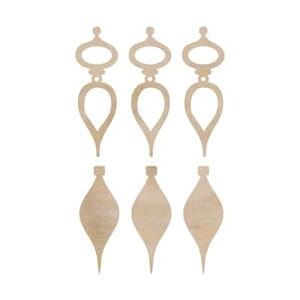 Kaisercraft: Mini Tear Drop Baubles - Wood Flourishes 6/Pkg