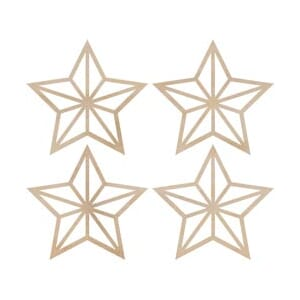 Kaisercraft: Mini Stars - Wood Flourishes 4/Pkg