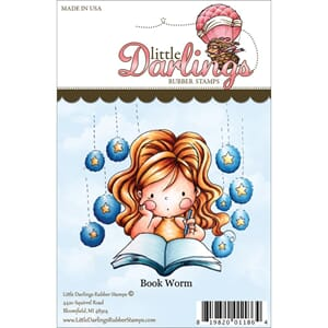 Little Darlings: Lisbeth Book Worm - Unmounted Rubber Stamp