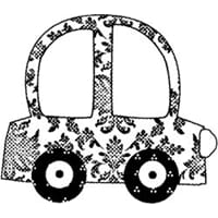 Suzanne Carillo: Flower Car - Mounted Red Rubber Stamp