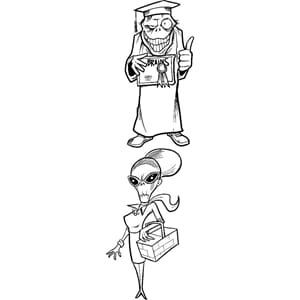 Art Gone Wild: Zombie Graduation -  Cling Stamp Set