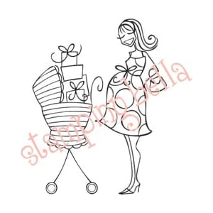 Stamping Bella: Rubber Stamp - Babycarriage-Abella