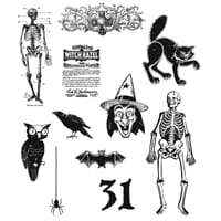 Tim Holtz: Mini Halloween 2 - Large Cling Rubber Stamp set