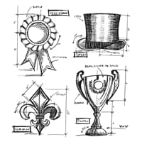 Tim Holz: High Society Blueprints - Cling Rubber Stamp Set