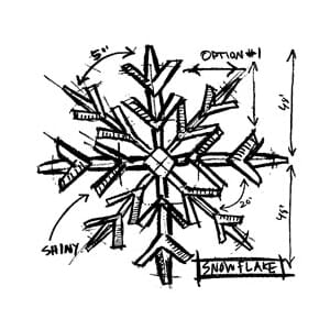 Tim Holtz: Snowflake Sketch - Mounted Rubber Stamp