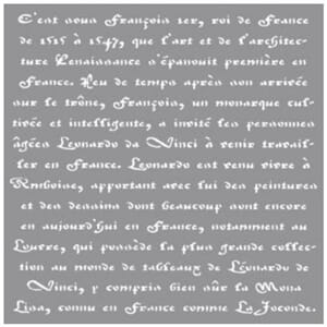 Stencil - French writings, 12x12 inch, 1/Pkg