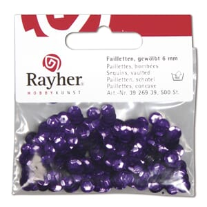 Paljette 6mm - Purple, 500 stk