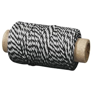 Twine - Sort & Hvit, 1mm, 35 meter