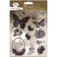 Vintage: Butterfly - Clear Stamps, 15 stk 1-7.3cm
