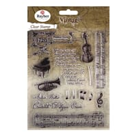 Vintage: Music - Clear Stamps, 16 stk, 1-12.5cm