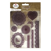 Vintage: Lace - Clear Stamps, 10 stk, 1-9cm