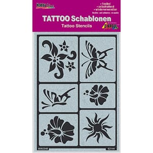 Tattoo Stencil - Sun, flowers, butterflies