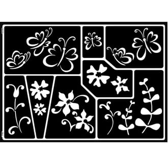 HOME DESIGN - Butterflies & flowers, Windows stencils