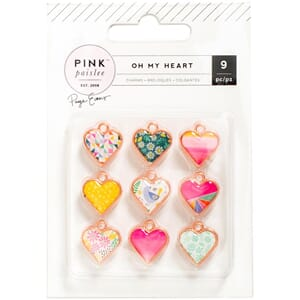 American Craft: Oh My Heart Metal & Resin Charms, 9/Pkg