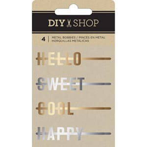 American Craft: DIY Shop 3 Decorative Metal Word Bobbies 4/P