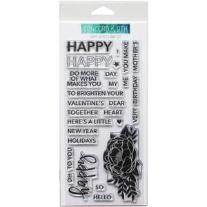 Concord & 9th: Happy Words Clear Stamps, 4x8