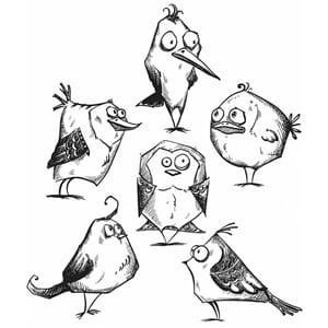 Tim Holz: Bird Crazy - Cling Rubber Stamp Set