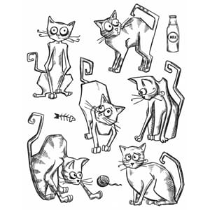 Tim Holtz: Crazy Cats - Cling Stamps