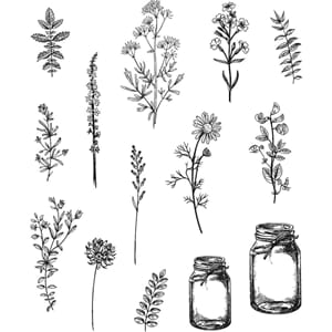 Tim Holz: Flower Jar - Cling Rubber Stamp Set