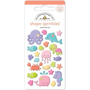 Doodlebug: Under The Sea Shapes Sprinkles Enamel Embellishm.