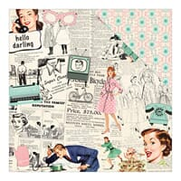 Authentique: One, Retro Collage News/Teal & Pink Geo - Fabul