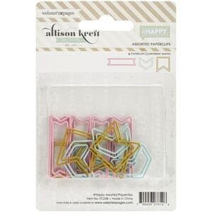 Webster's: #HAPPY Shaped Paper Clips Assorted 15/Pkg