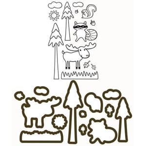 LDRS: North Woods - Clear stamps & dies set, 26/Pkg