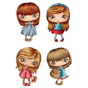 LDRS: Blossom Girls Cling Stamps, 4/Pkg