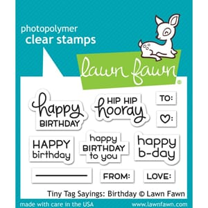 Lawn Fawn: Tiny Tag Sayings: Birthday Clear Stamps, 2x3 inch