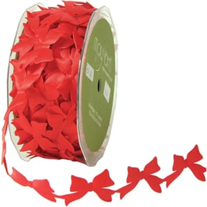 Bånd: Sløyfer, rød - Cut Out Satin Ribbon