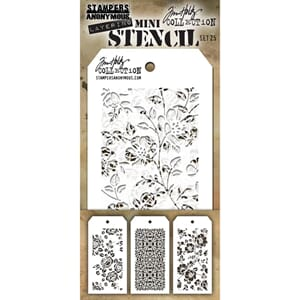 Tim Holtz: Set 25 - Mini Layered Stencil Set 3/Pkg