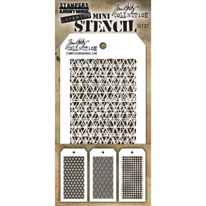 Tim Holtz: Set 27 - Mini Layered Stencil Set 3/Pkg