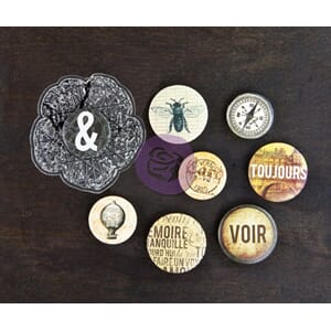 Prima: Cartographer Flair Buttons & Clear Stamps, 9/Pkg