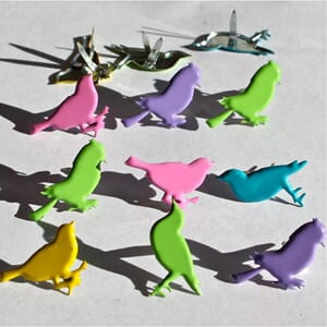 Eyelet Outlet: Sitting Birds Pastel - Shape Brads 12/Pkg