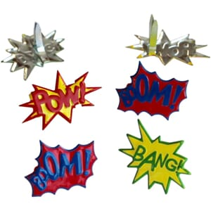 Eyelet Outlet: Super Hero Words - Shape Brads 12/Pkg